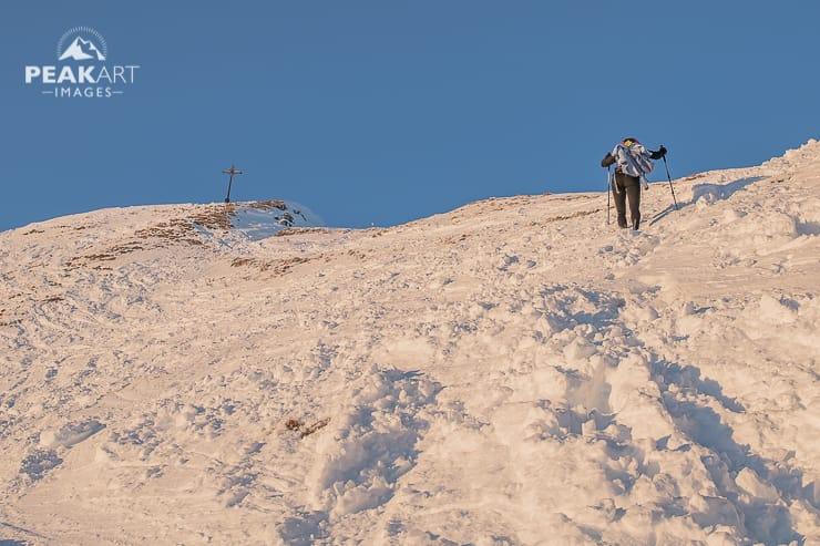 Rotwand Aufstieg im Schnee