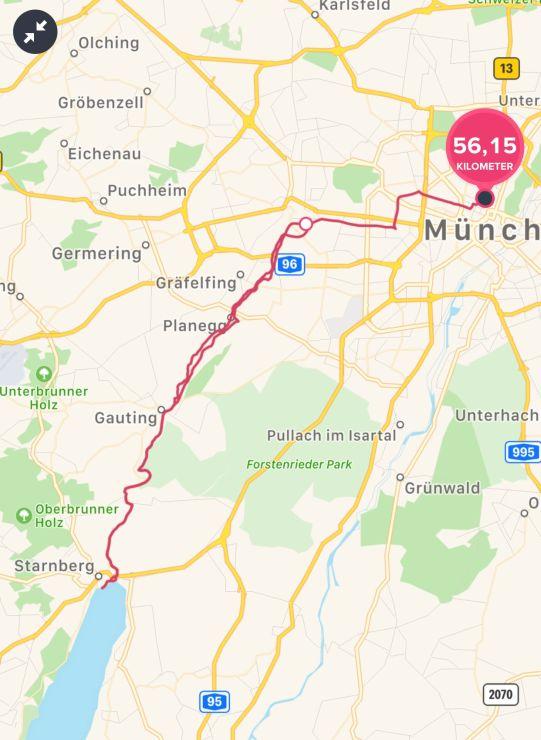 Radtour muenchen nach starnberg route