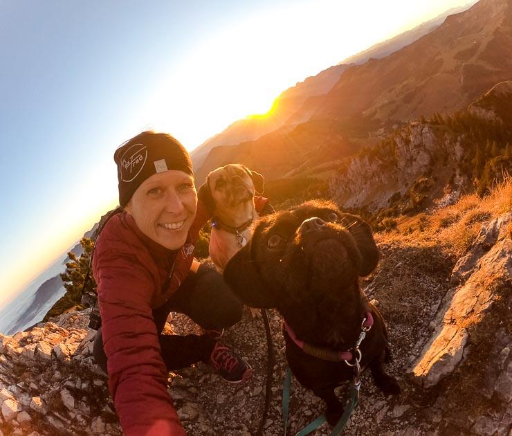 sonnenaufgang lacherspitze mit hunden auf dem berg