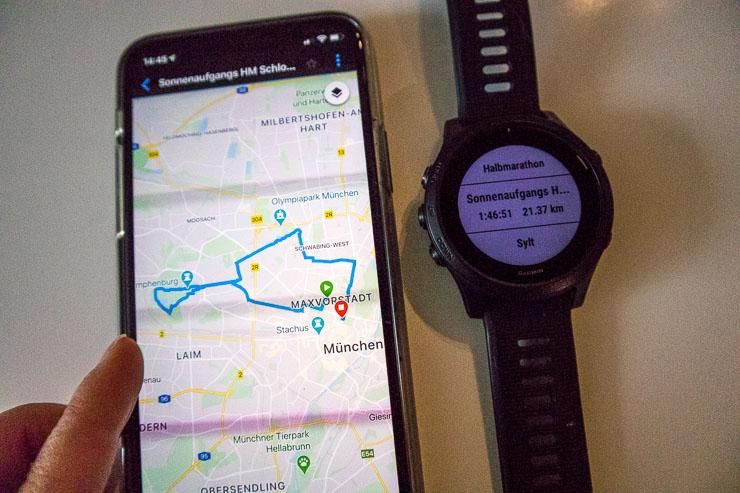 virtueller halbmarathon streckenplanung forerunner 945